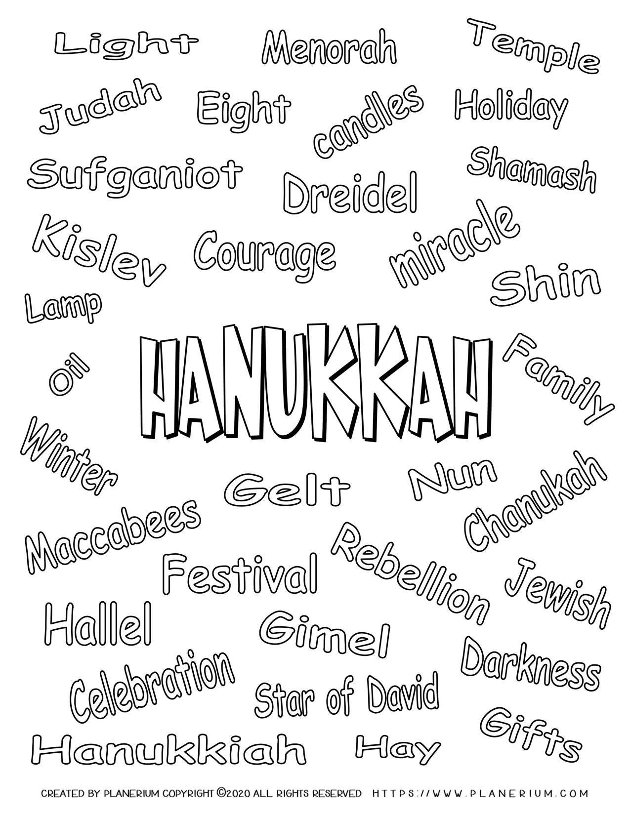 Hanukkah Coloring Page Related Words Free Printable Planerium Word Free Teacher Activities Free Printable Worksheets [ 1650 x 1275 Pixel ]