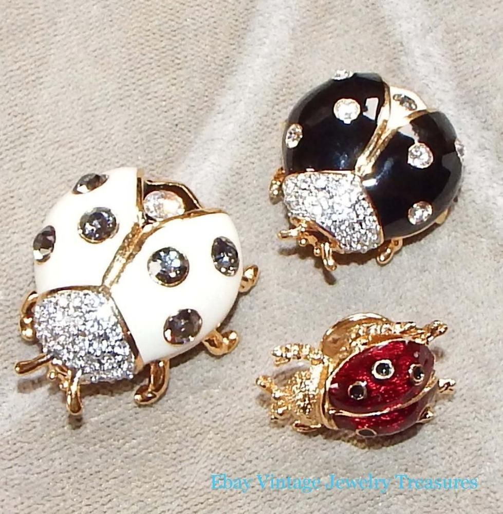 JOAN RIVERS Lot of Enamel Gold Tone Ladybug Pins joanrivers