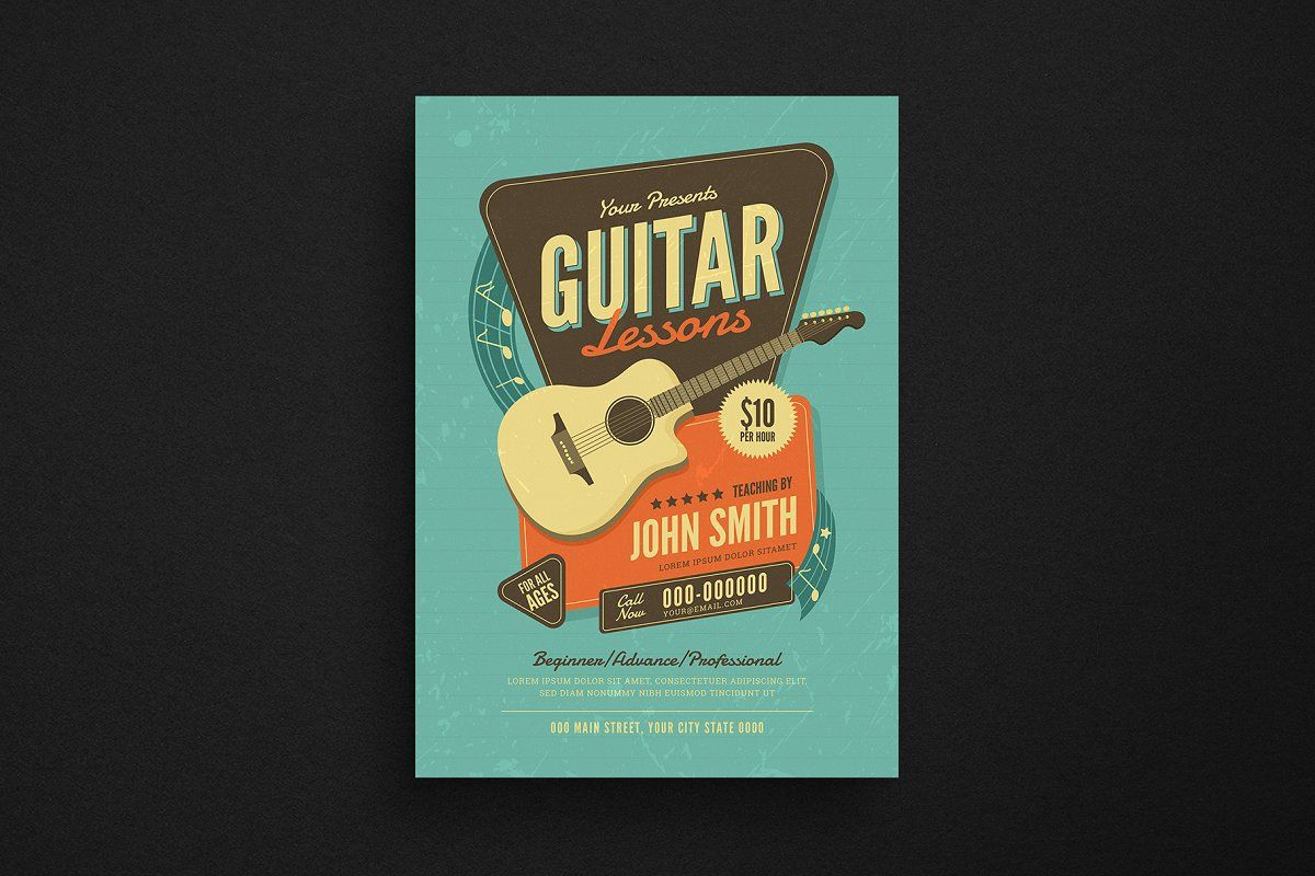Ad Guitar Lessons Flyer By Guuver On Creativemarket Specifications Aics6 Amp Psd File A4 Size 100 Vector Free Guitar Lessons Music Flyer Creative Project