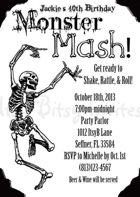 Monster Mash Birthday Invitation   Halloween Party Invitation - halloween invitation template
