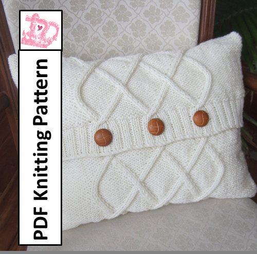 Cable knit pillow cover, knit pattern pdf, Triple Diamond Cable aran ...