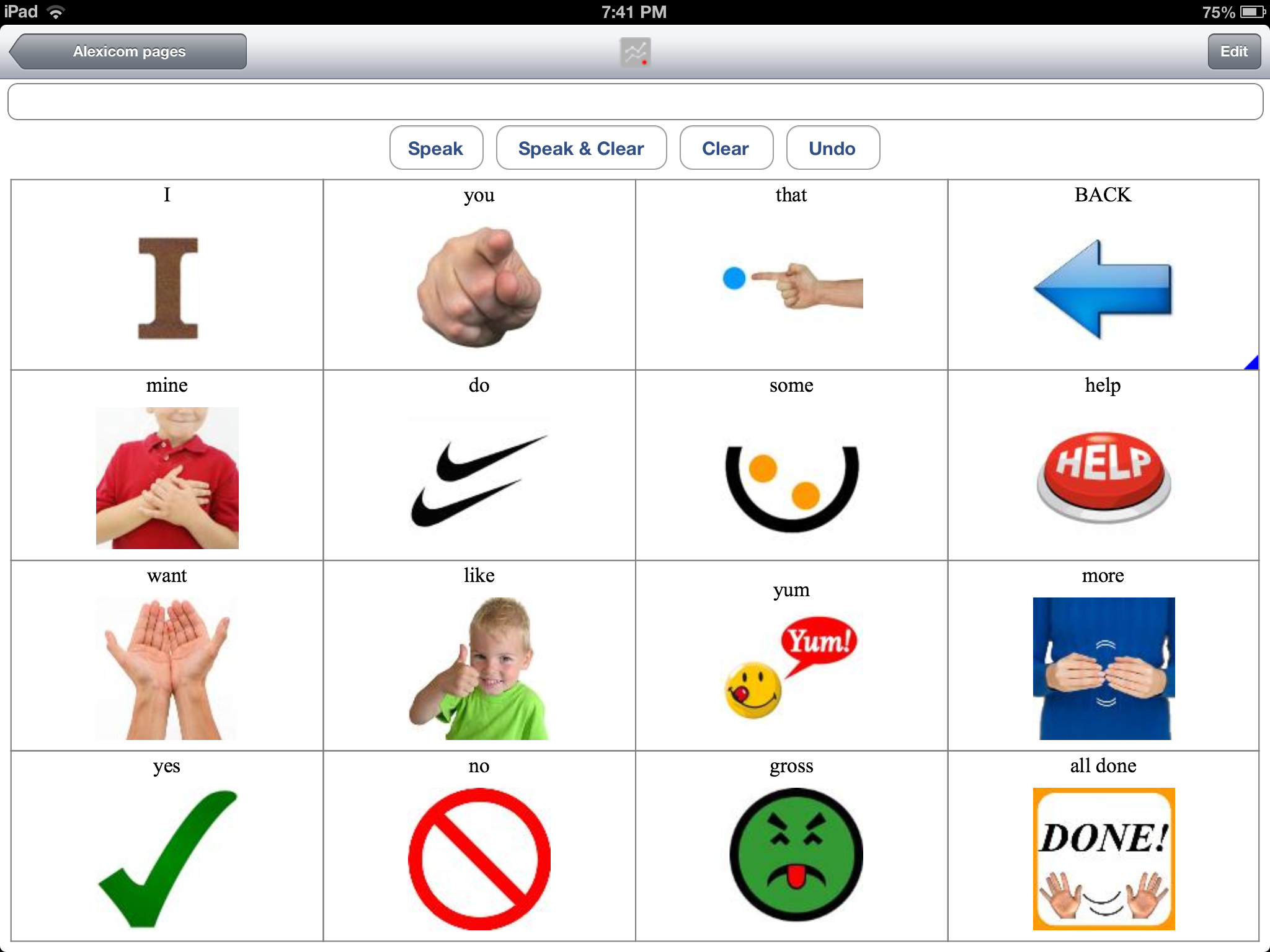 Core Words Alexicom Aac And Elements In Itunes
