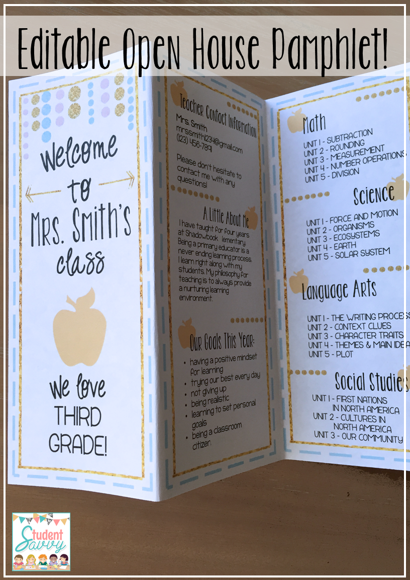 Back to school night pamphlet brochure template for for Open house brochure template