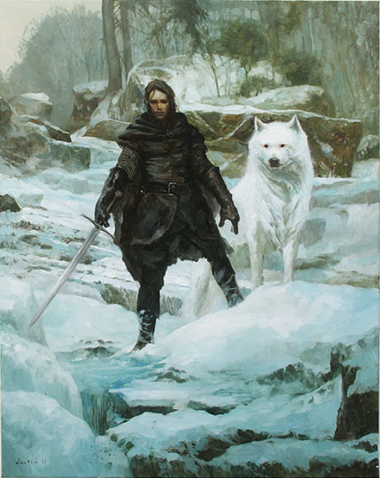 Jon Snow in the Night's Watch and the white wolf Ghost