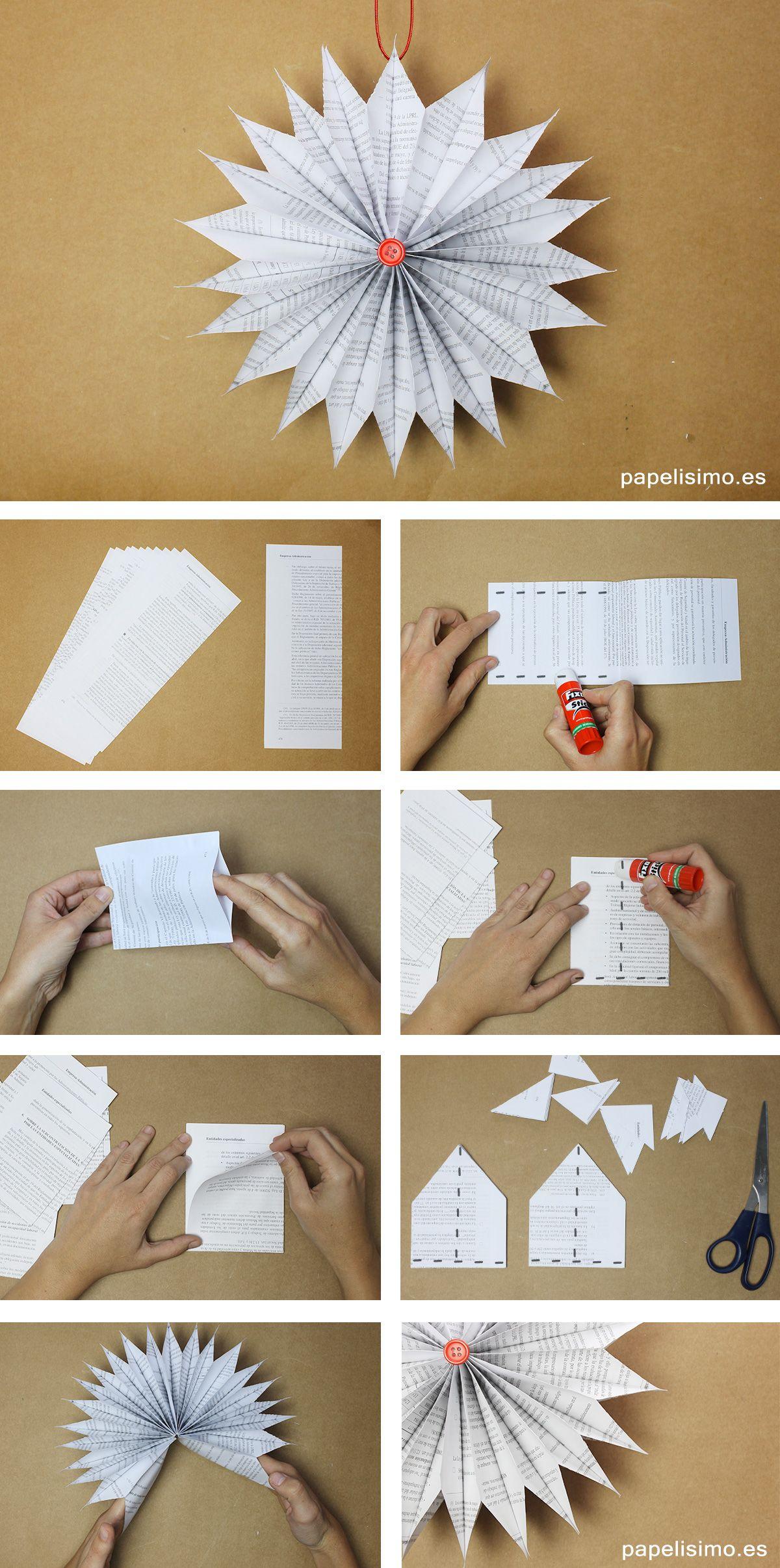 Adornos navidenos papel paso a paso diy paper christmas ornaments papel de periodico pinterest - Adornos navidenos diy ...