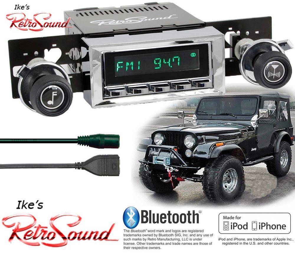 Retro Sound Jeep Cj5 Cj7 Scrambler Long Beach C Radio Bluetooth Usb 3 5mm Aux Ebay Motors Parts Accessories Vintage Car Jeep Cj7 Mods Jeep Cj5 Jeep Cj7