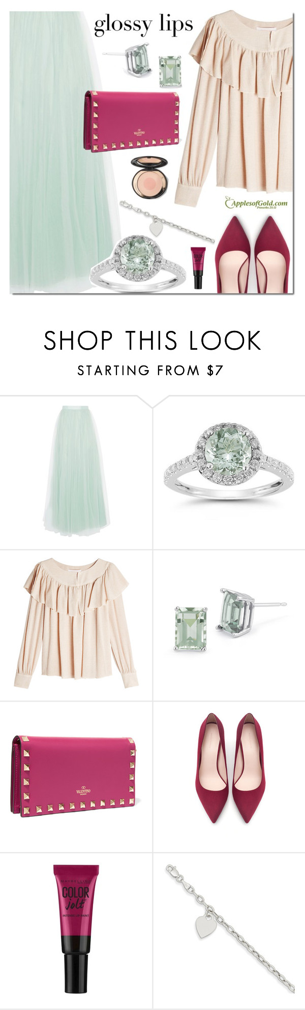 """""""ApplesofGold.com Green Amethyst Jewelry"""" by mada-malureanu ❤ liked on Polyvore featuring Coast, See by Chloé, Valentino, Zara, Maybelline, contestentry, glossylips and applesofgold"""