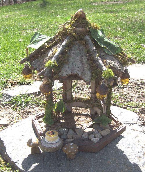 FAIRY HOUSE GAZEBO Dollhouse Miniature Rustic Woodland by Eyemuse