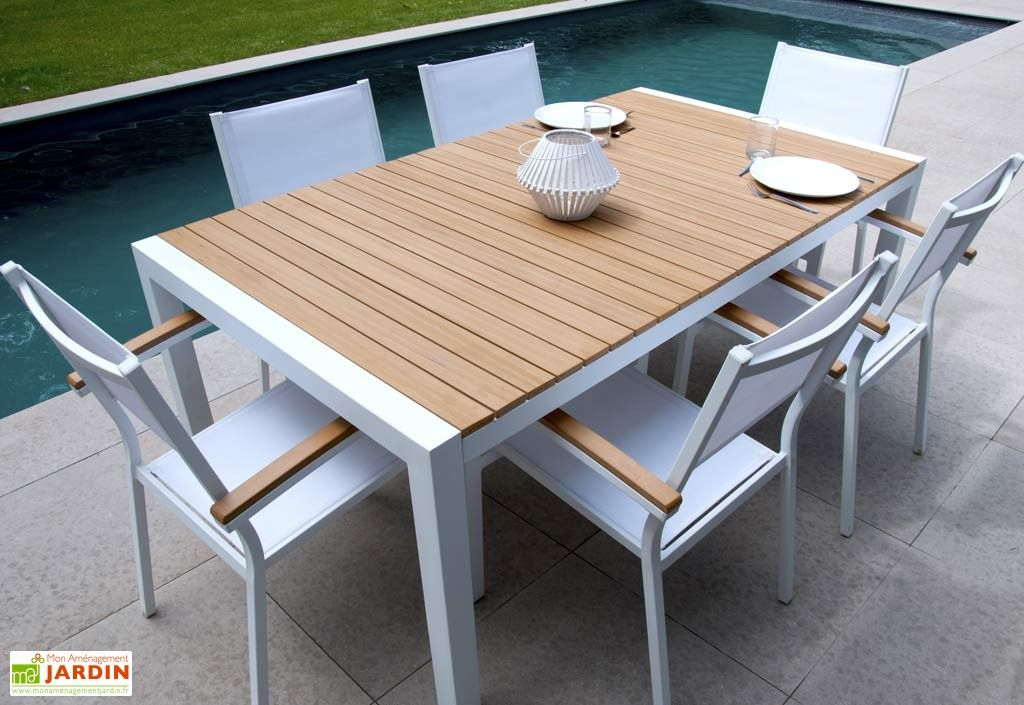 Table Jardin Teek Alu+Composite (180x100x74,5) | Table de ...