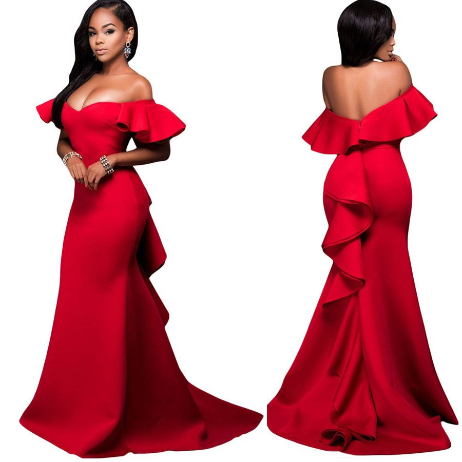 Cheap sexy red mermaid long evening dresses simple ruffles boat
