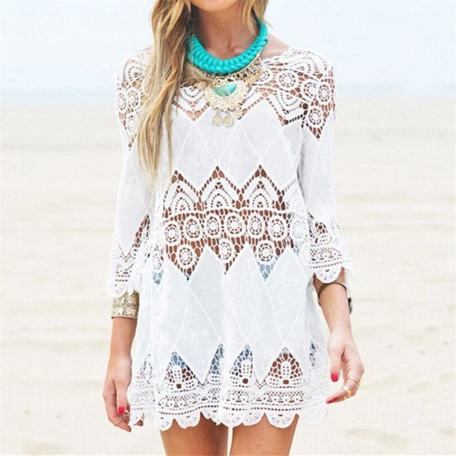 79802ee76a5 New Arrivals Beach Cover up Rayon White Swimwear Tunic Ladies Robe de Plage  Pareos For Women