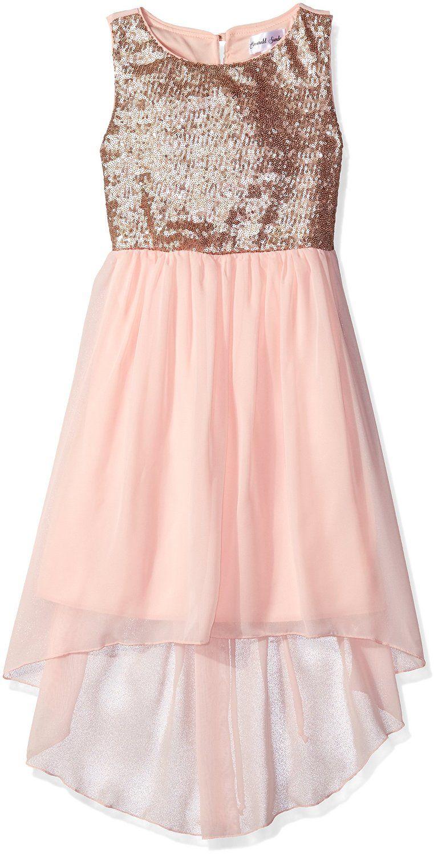 0aa677a42 Amazon.com: Emerald Sundae Big Girls Sequin Top with Hi/Lo Blush Skirt Dress,  Gold/Pink, 12: Clothing