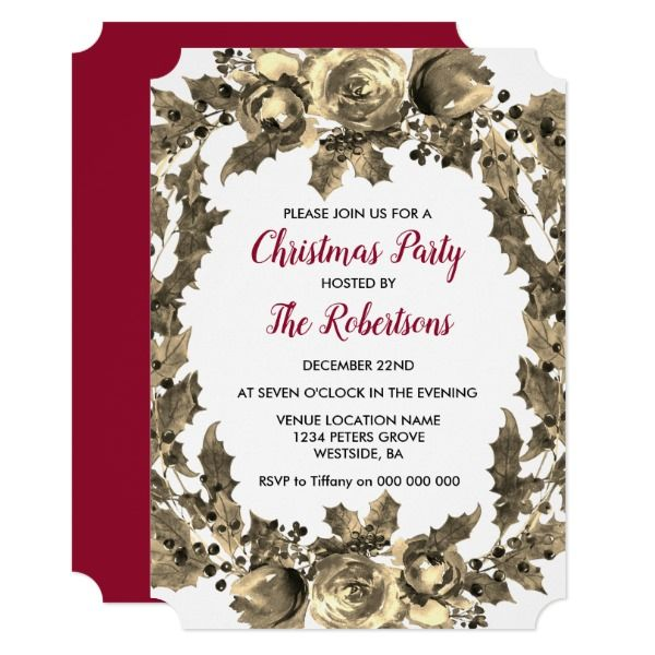 Golden Floral Leaf Wreath Christmas party invite Party invitations