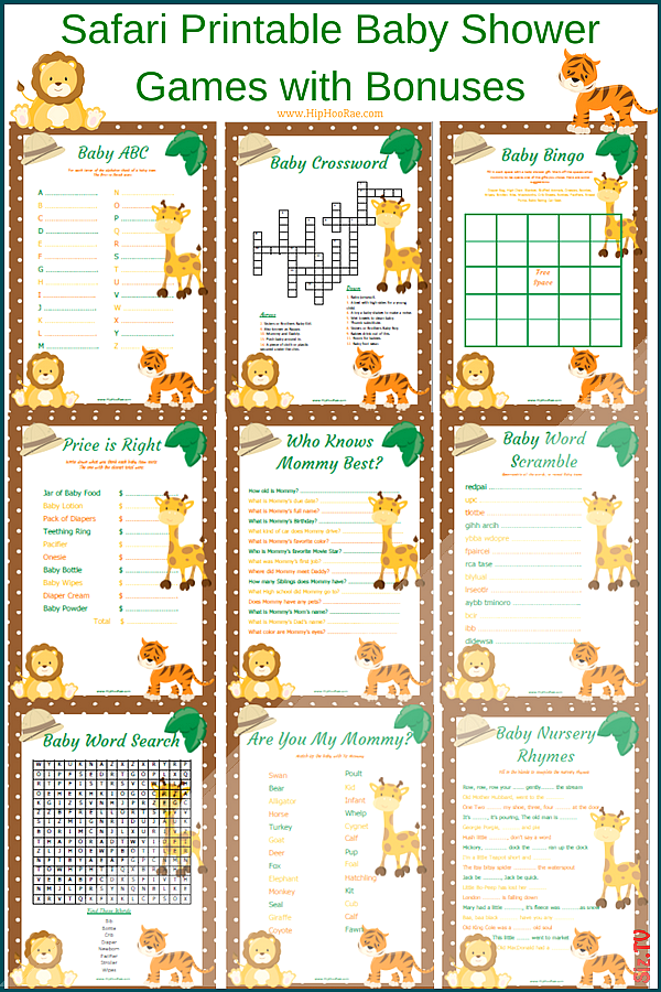 Safari Jungle Printable Baby Shower Games with Bonuses Safari Jungle Printable Baby Shower Games with Bonuses SERVICIOS INTEGRALES ECOLOGICOS SPA SERVICIOS INTEGRALES ECO...