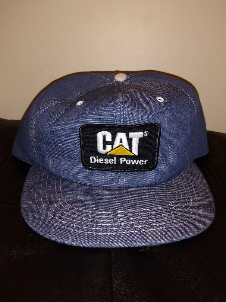 44e17d26f4344 Vintage NEW CAT Caterpillar Diesel Hat Tonkin Denim Patch Snapback USA  Trucker  Tonkin  BaseballCap
