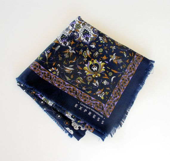 Vintage Womens Scarf 1970s Floral Print Scarf Navy Blue Green Lavender