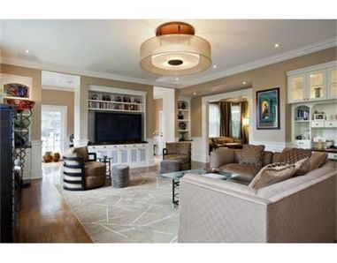 Great Family Room Ceiling Light Fixture In A Cozy Newton Ma Home Fixtures