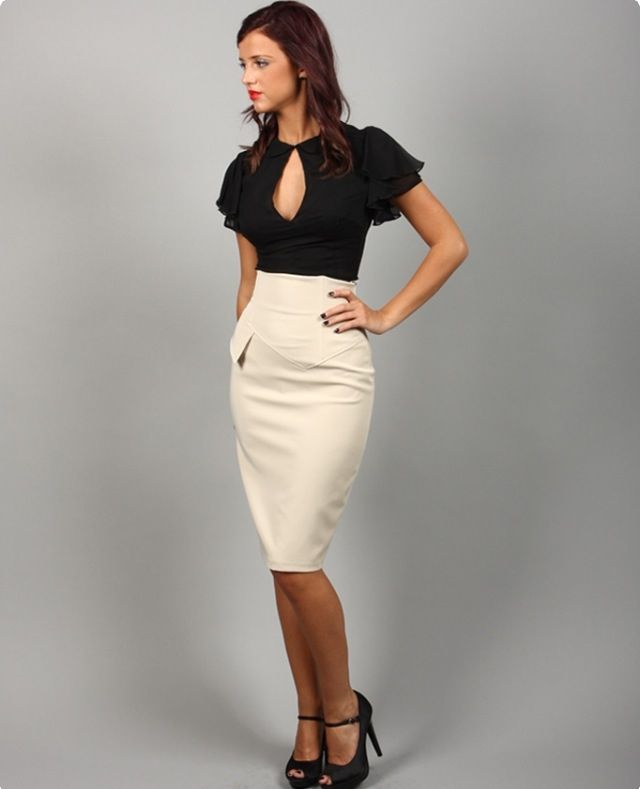 db04ff4e1 High waisted pencil skirt: petticoat. | In Style | Pencil skirt ...