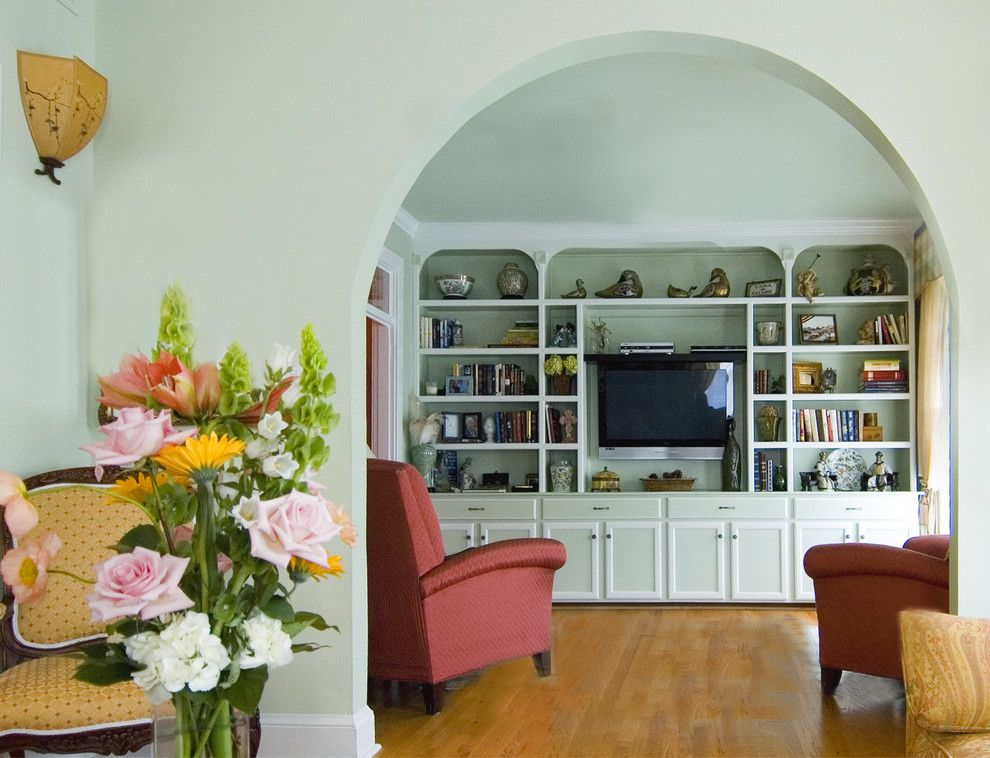 Wall Mounted Bookshelves Living Room Traditional with Arch Archway ...