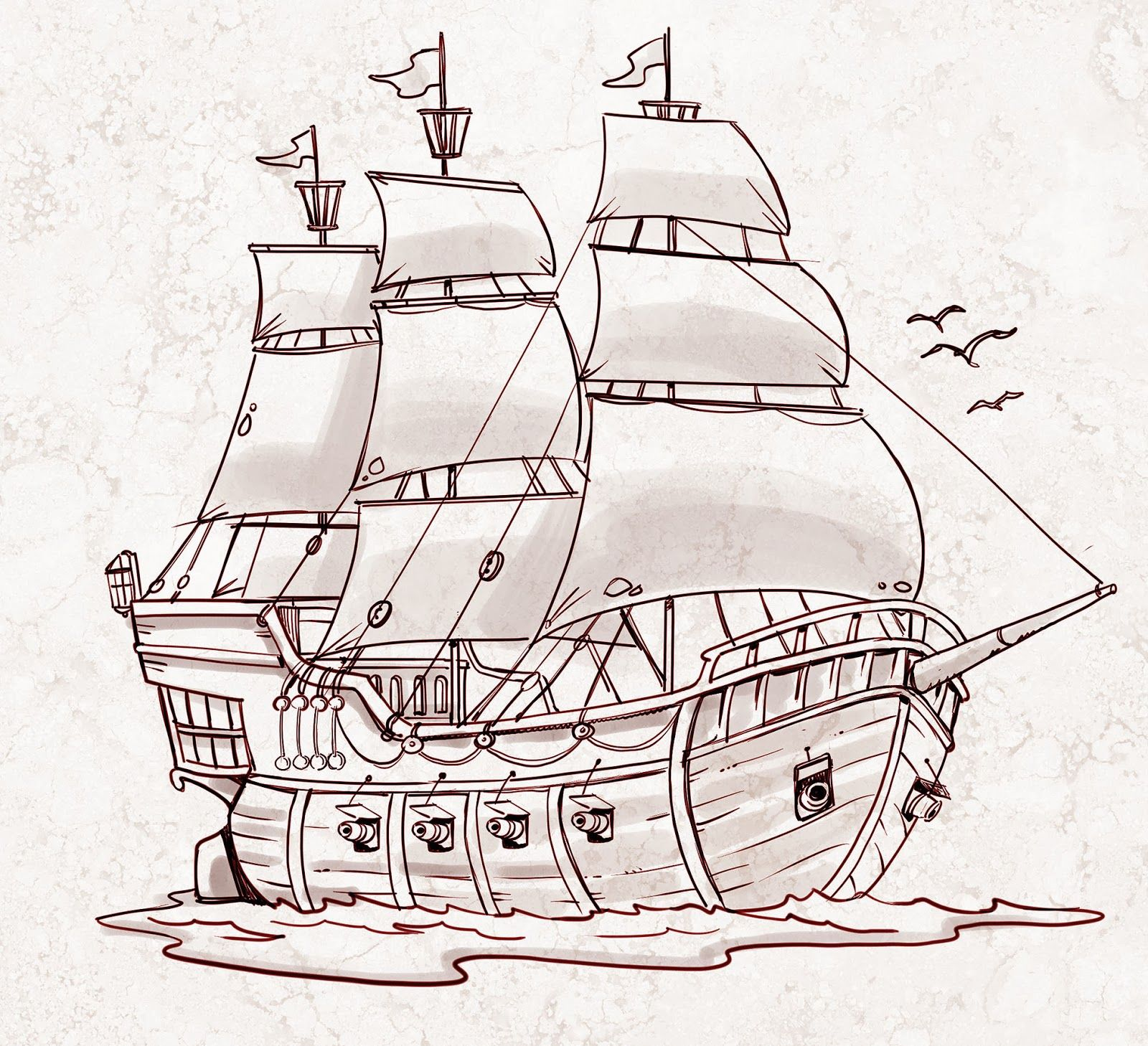 Cartoon Sailing Ship Design Shading Curtain Blackout: Pirate Ship - A Sketch For A How To Draw Book.