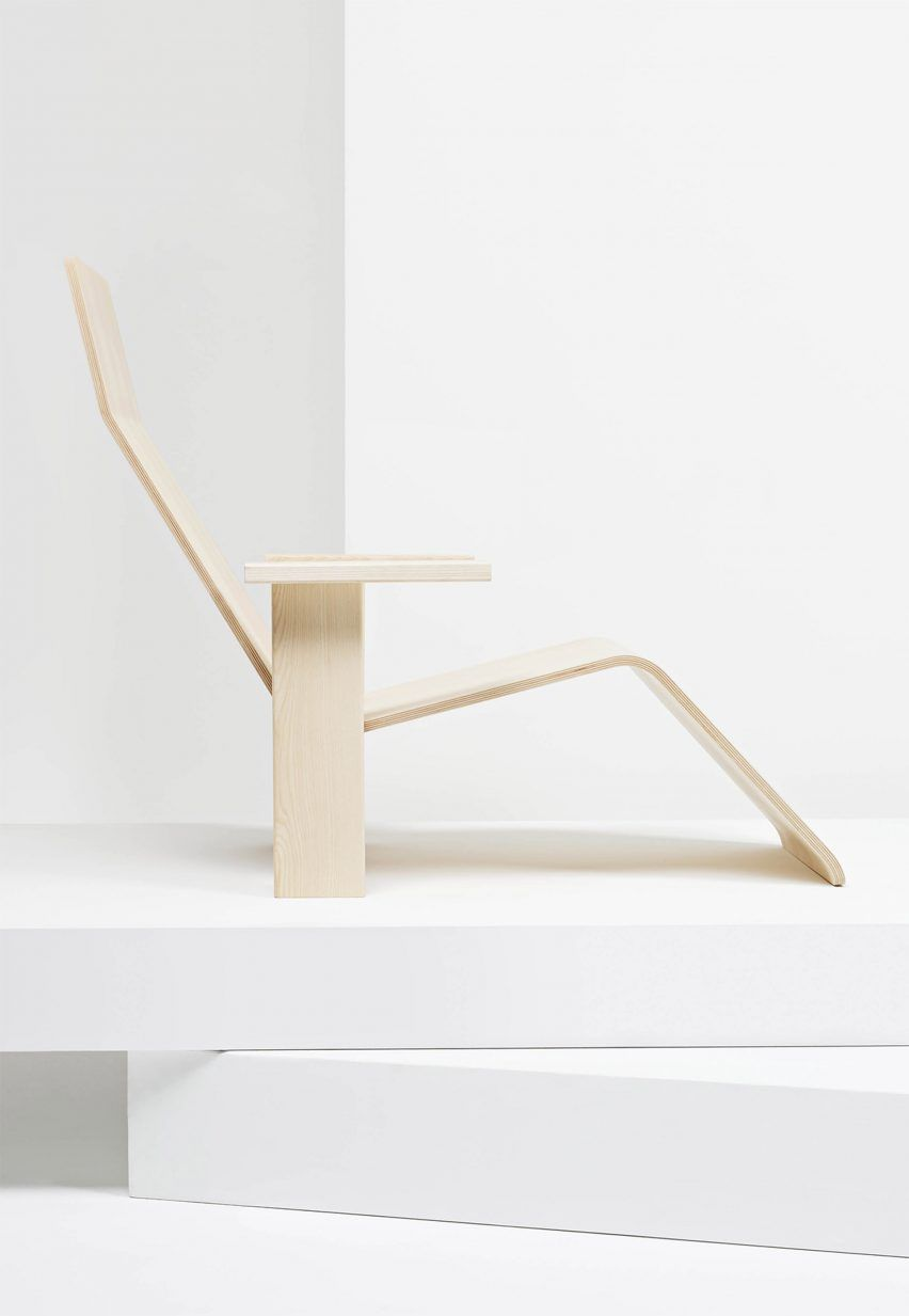 Bouroullec Brothers Design Minimal Ash Wood Chaise Lounge For Mattiazzi