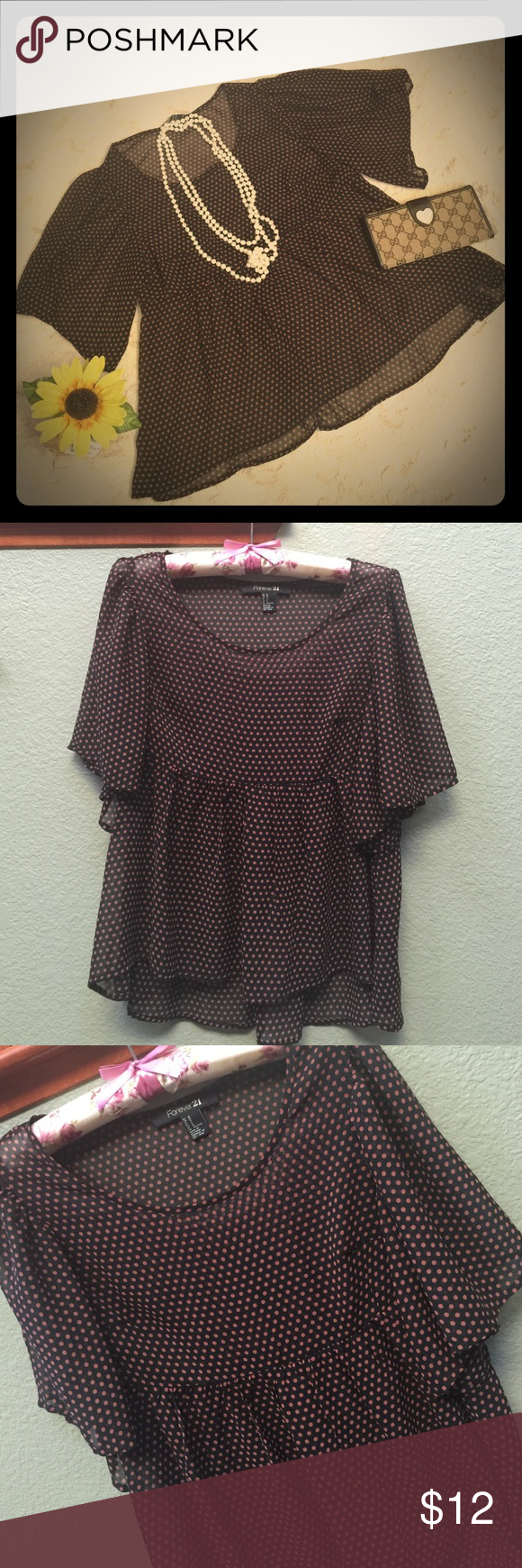 Forever 21 blouse Semi sheer blouse from Forever 21, black and tan colored dots. Washed not worn. Pets and smoke free home. Forever 21 Tops Blouses