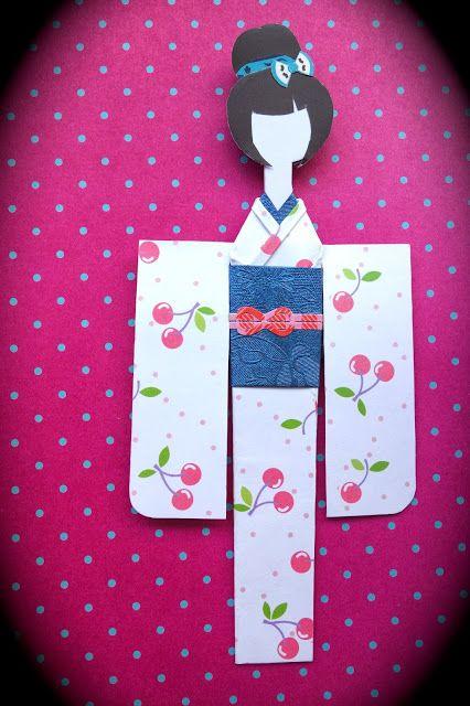 Mikano Yuri: Cherries Kimono Paper Doll (front)