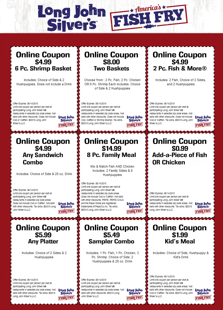 picture about Long John Silver's Printable Coupons known as Pinned May well 25th: $2 small children evening meal any sandwich combo $5 even more