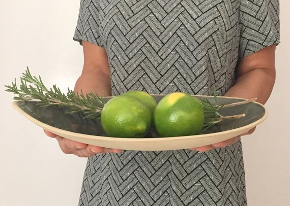 Handmade Large Ceramic Bowl , Large Green Bowl ,Ceramic Serving Bowl, Ceramics and Pottery, serving Dish, Green Ceramic Plate