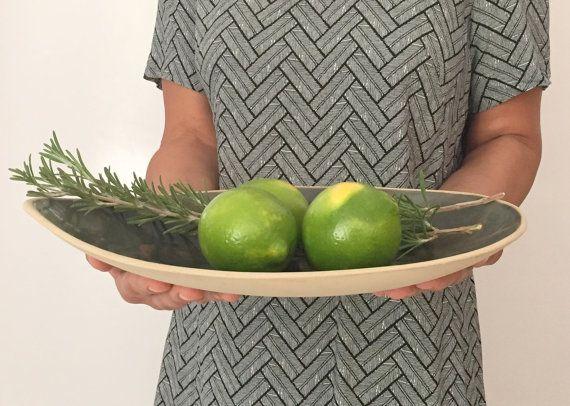 Handmade Large Ceramic Bowl , Large Green Bowl ,Ceramic Serving Bowl, Ceramics and Pottery, serving Dish, Green Ceramic Plate