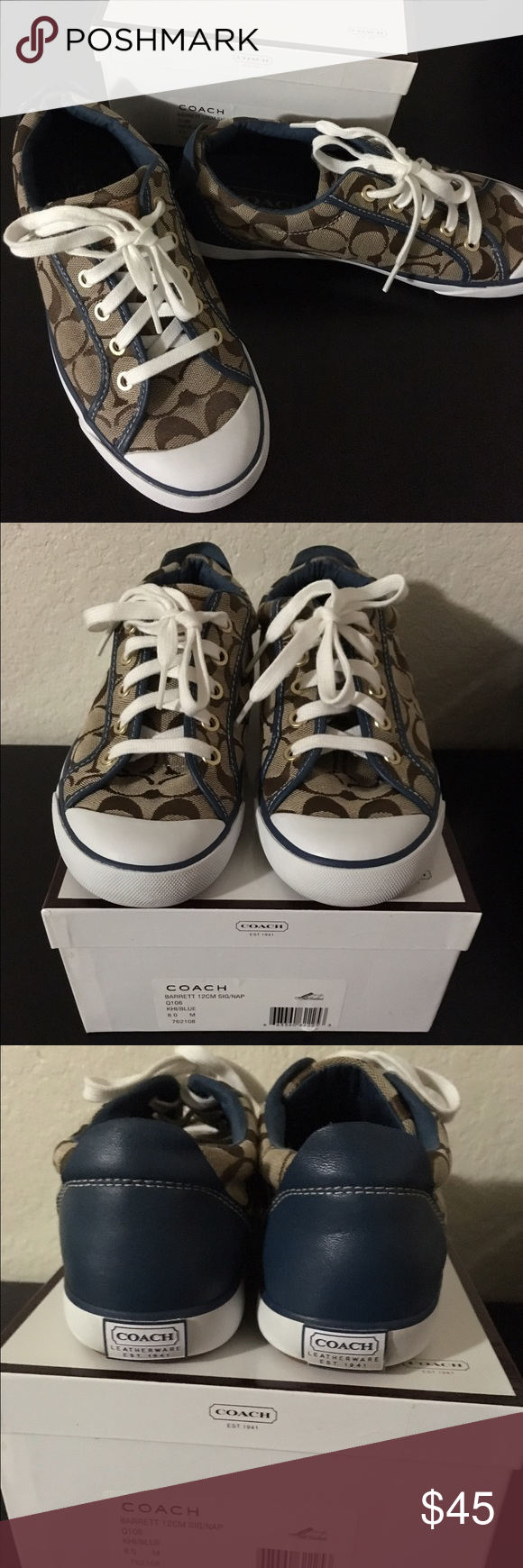 Coach Khaki/Blue Sneakers Excellent like new condition hardly worn. The photos speaks for it's self how good these Coach shoes are. Too small for me. True to size. 🚫No Trades 🚫No Holds Coach Shoes Sneakers
