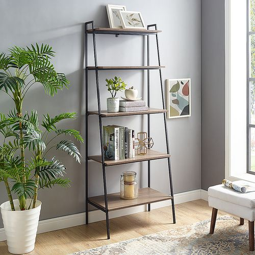 Walker Edison Modern Metal High Grade Mdf 5 Shelf Ladder Bookcase Mocha Bbs72arldmo Decor