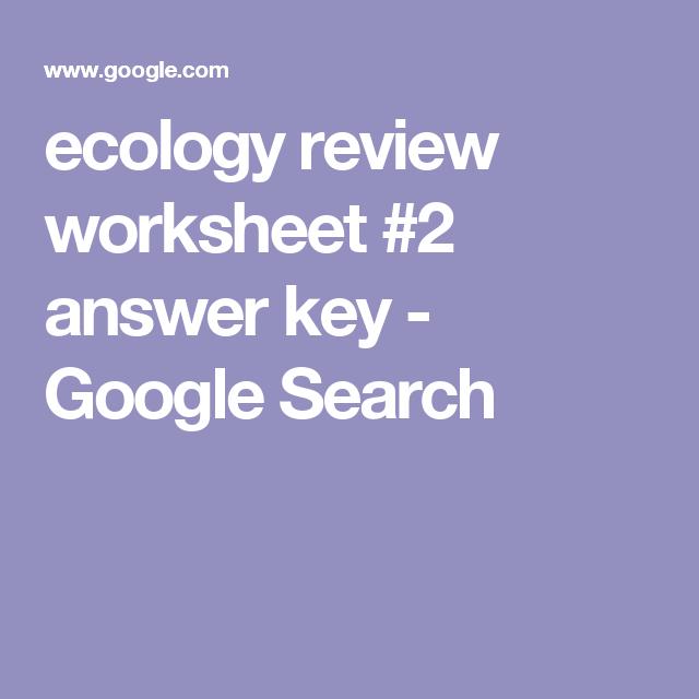 ecology review worksheet #2 answer key - Google Search | keke ...