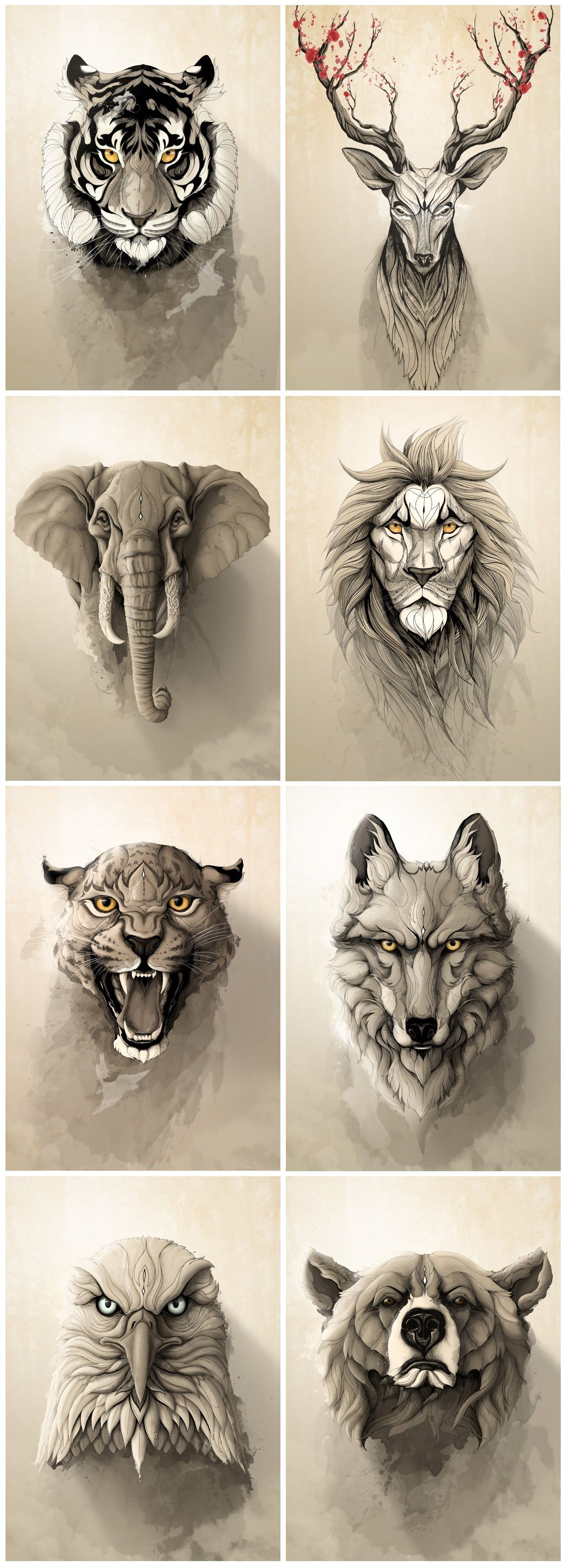 Wolf And Bear Designs For Possible Shoulder Pieces Wild Animals Metal Posters Collection By Rafapasta Cg Anima Animal Tattoos Elephant Tattoos Animal Tattoo