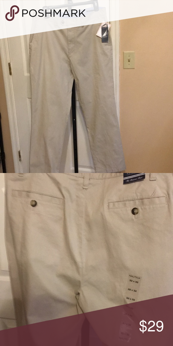 Nautica Beacon Pant Nautica Stone Color Pant Flat Front 4 Pocket Straight Fit Size 32 32 Nautica Pants Chinos Khakis Pants Colored Pants Khaki Chinos