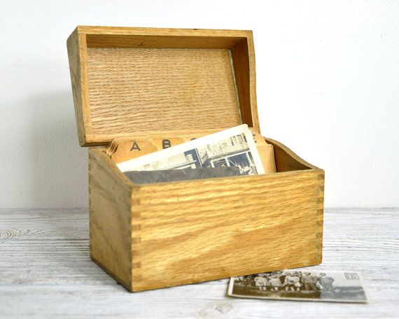 Vintage Wood Index Card Box Card Box Index Cards Vintage Wood
