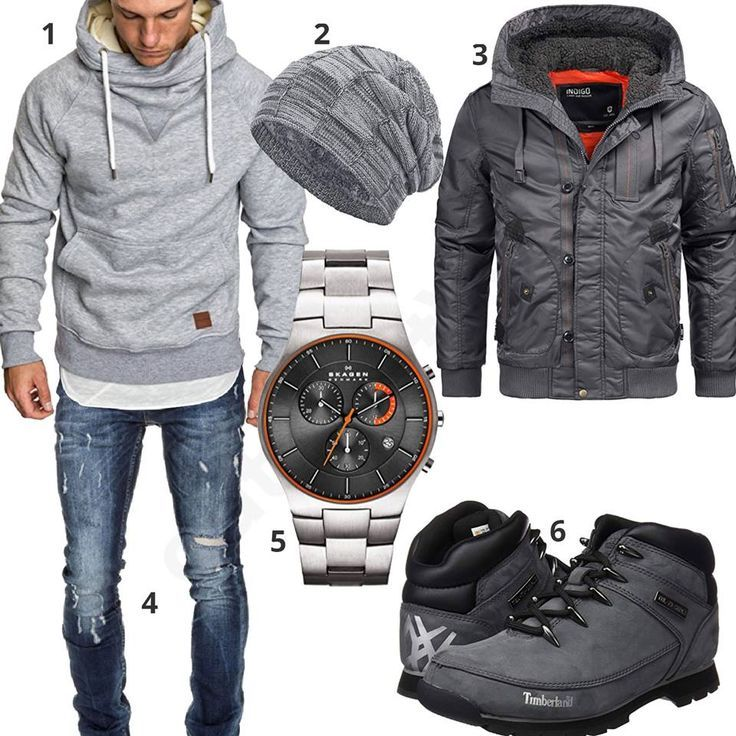 Gray With Mens HoodieJacket Outfit Boots And w0PX8nOk