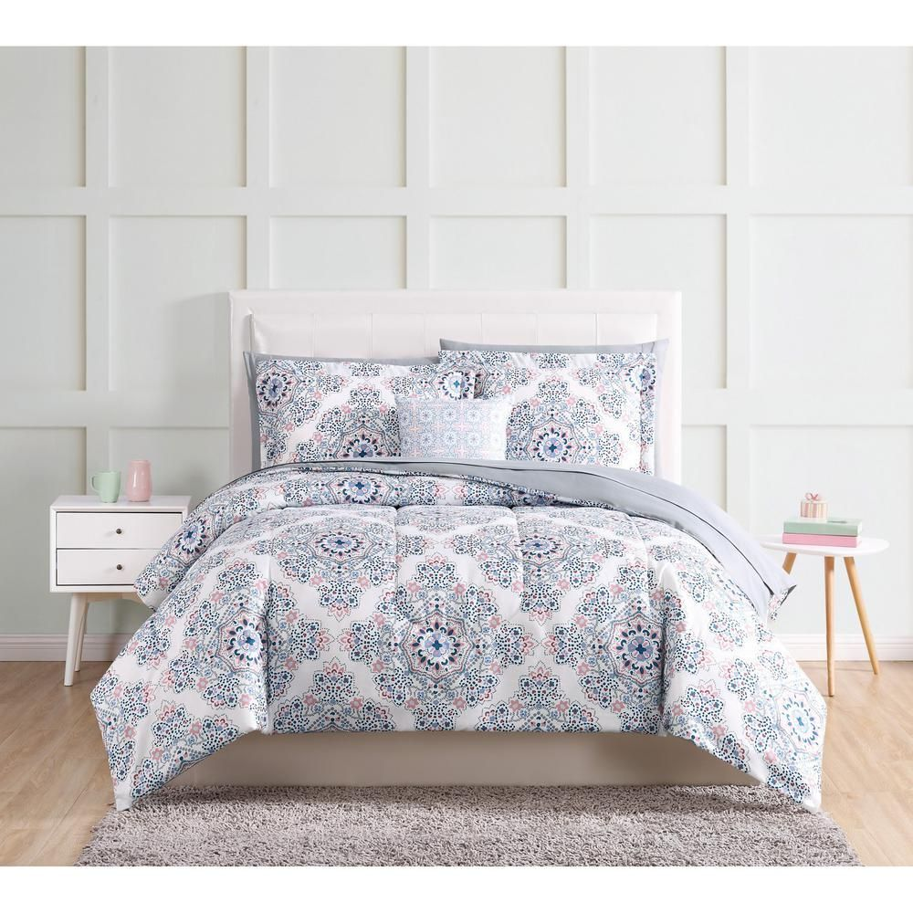 Style 212 Shirley 9 Piece Blue Twin Xl Bed In A Bag Set Duvet