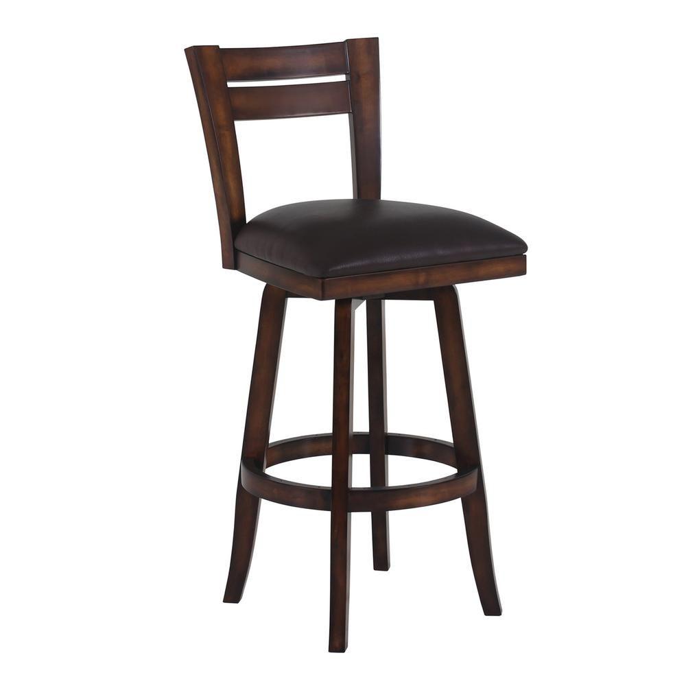 Admirable Bristol 26 In Brown Faux Leather And Pecan Wood Finish Frankydiablos Diy Chair Ideas Frankydiabloscom