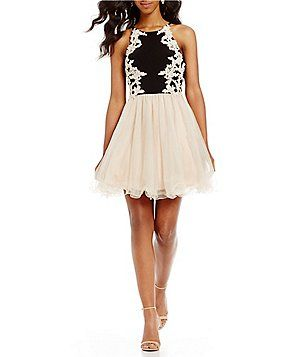 962029a21a2 Blondie Nites High Neck Embroidered Fit-And-Flare Dress