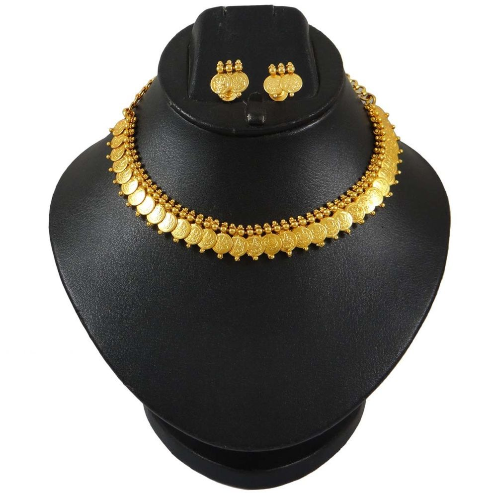 Choker Necklace Laxmi Coin Temple Collection Set Gold Plated Indian