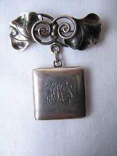 Vintage Antique Silver La Paglia Brooch Pin &  Locket