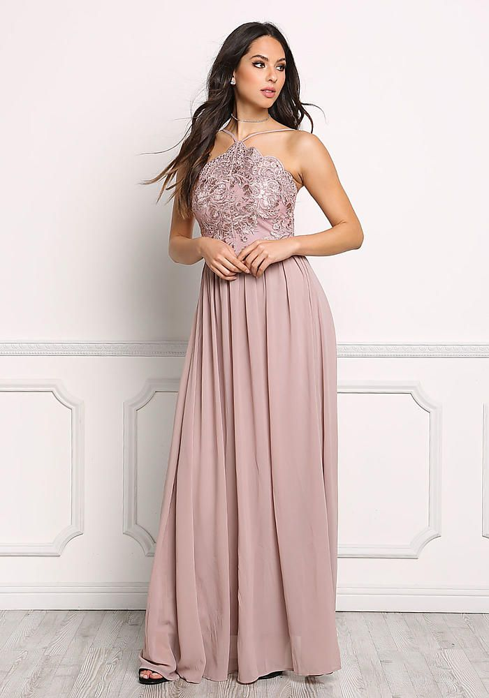 Mauve Floral Embroidered Chiffon Maxi Gown
