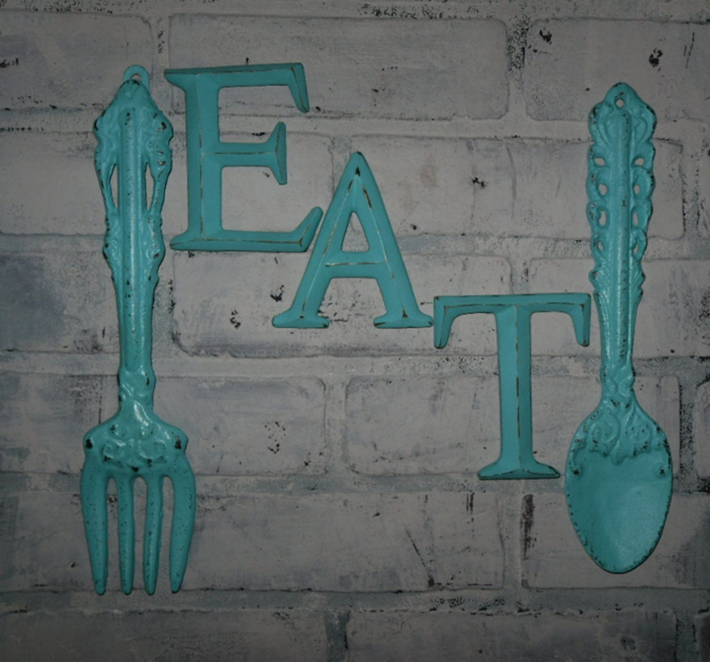 Kitchen Wall Decor / Aqua / Fork and Spoon Decor / EAT Sign/ Wall ...