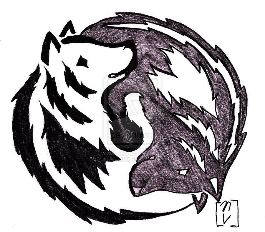 yin and yang wolf tattoo by on deviantart tatts pinterest wolf. Black Bedroom Furniture Sets. Home Design Ideas
