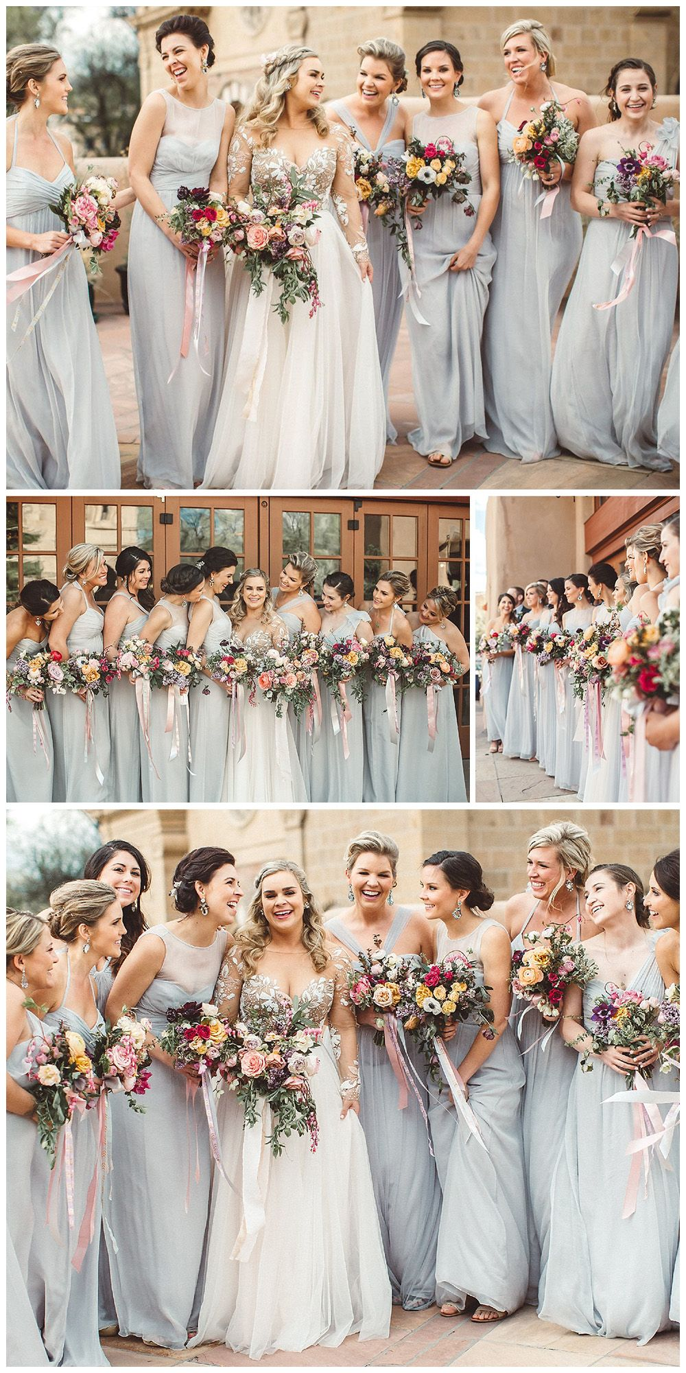 Aline vneck long dusty blue tulle bridesmaid dress wedding party