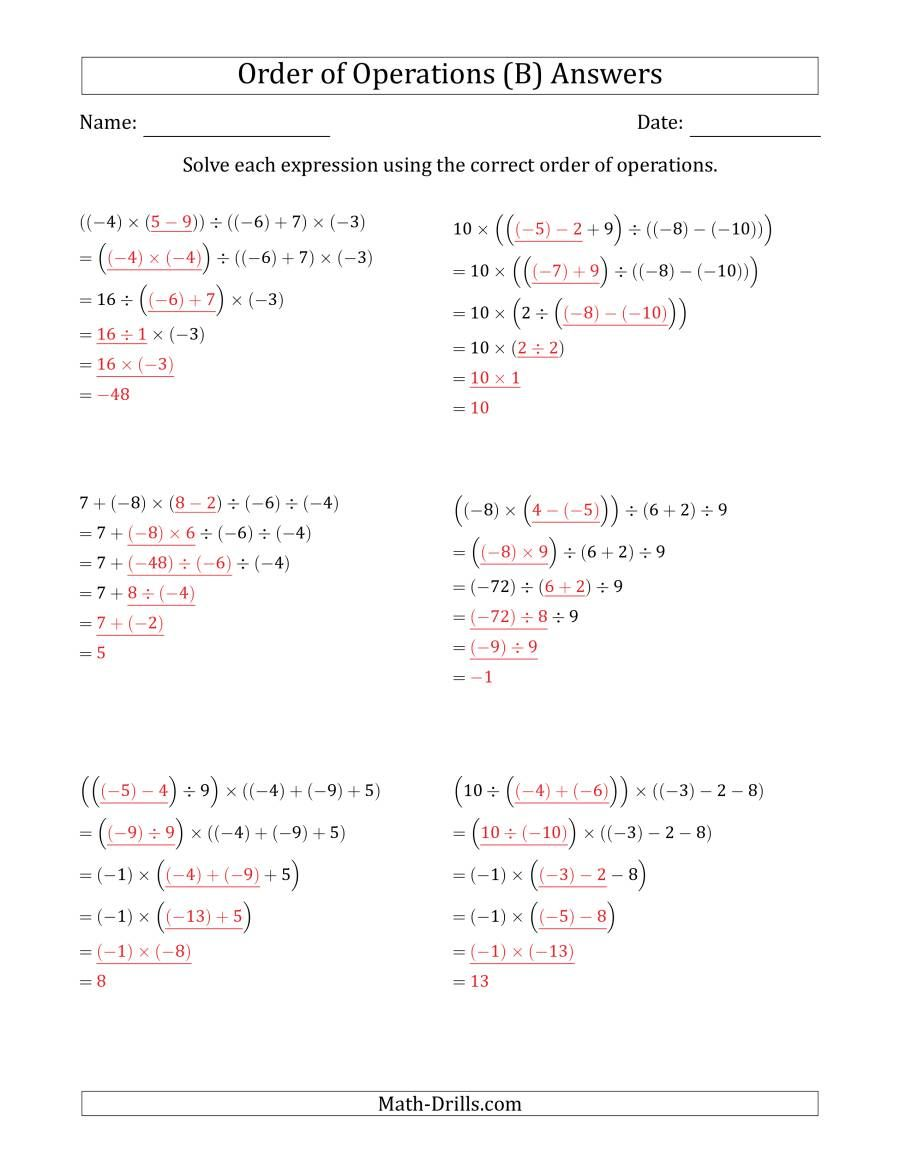 The Order of Operations with Negative and Positive