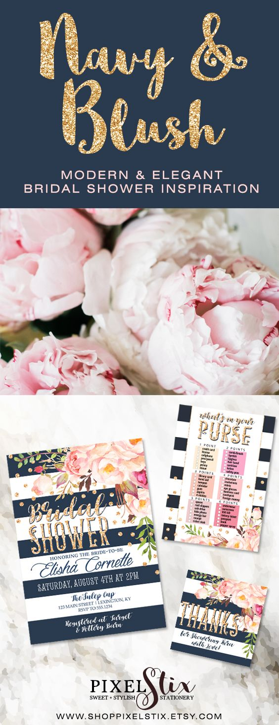 d50d73fb496d Modern   Elegant Bridal Shower Invitation. Navy Blue and Pink Blush  watercolor flowers accented by stripes and antique gold glitter confetti.