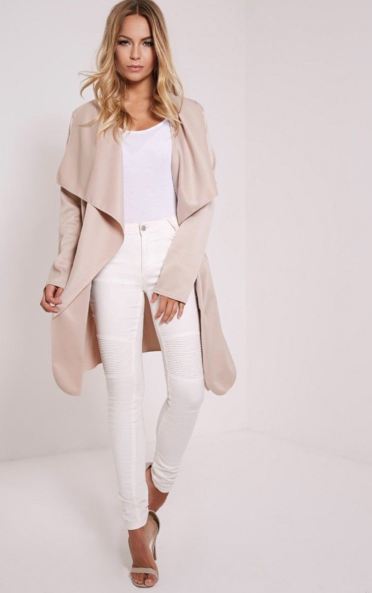 bec01d27 Livia Beige Lightweight Belted Waterfall Jacket | Loving the Clothes ...