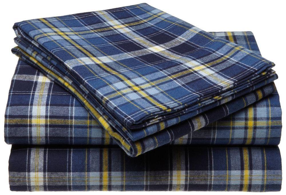 100 Cotton Flannel Sheet Set Blue Yellow Plaid Deep Pocket Luxurious King Size Sheet Sets Full Sheet Sets Cotton Flannel